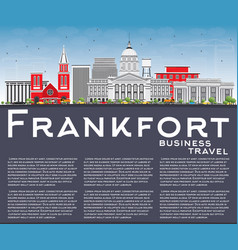 Frankfort skyline with gray buildings vector