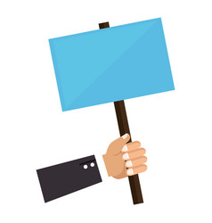 Hand holding a poster with pole vector