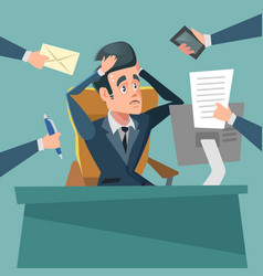 Shocked multitasking businessman stress at work vector