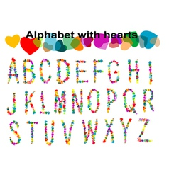 Alphabet with hearts vector