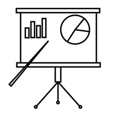 Presentation board with chart icon vector