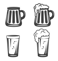 Set of beer mugs icons isolated on white vector