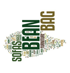 Bean bag supplies text background word cloud vector