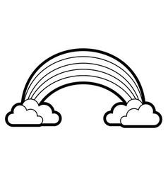 Rainbow with clouds cartoon vector