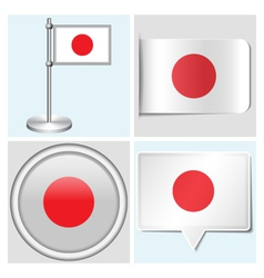 Japan flag - sticker button label flagstaff vector