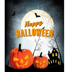 Retro halloween night background with two pumpkins vector