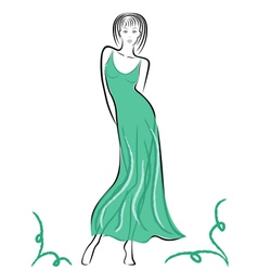 Graceful lady in turquoise gown vector