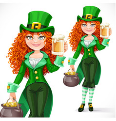 Beautiful girl leprechaun with pot of gold offers vector