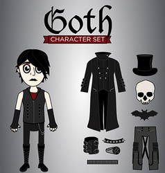 Goth male character set vector