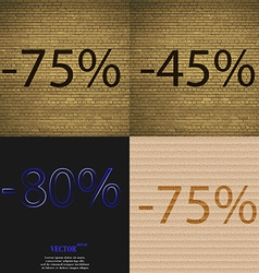 45 80 75 icon set of percent discount on abstract vector