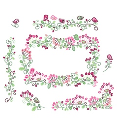Floral elements pink green vector