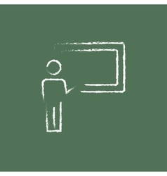 Professor and blackboard icon drawn in chalk vector