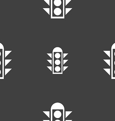 Traffic light signal icon sign seamless pattern on vector