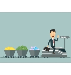 Flat businessman on the train with wagons vector