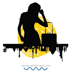 Ancient monument travel with girl silhouette vector