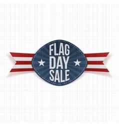 Flag day sale festive label with ribbon and shadow vector