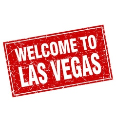 Las vegas red square grunge welcome to stamp vector