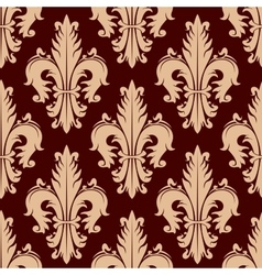 Fleur-de-lis seamless pattern with curly leaves vector