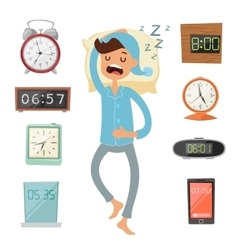 Alarm clock and sleeping man vector image