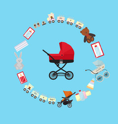 Baby store banner with child carriage vector