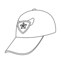 cap football fanfans single icon in outline style vector image