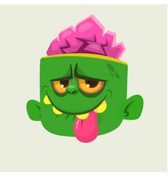 cartoon cute happy zombie head showing tongue vector image vector image