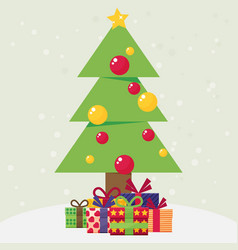 christmas tree with gifts vector image vector image