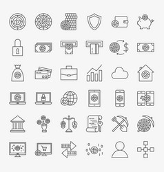 cryptocurrency line icons set vector image vector image