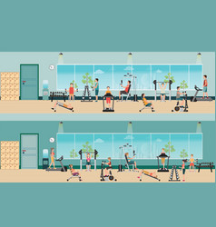 Fitness cardio exercise and equipment with people vector