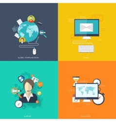 Flat cloud computing and social media background vector image vector image
