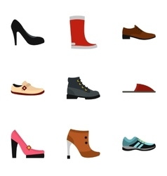 Footgear icons set flat style vector image