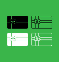 gift card icon black and white color set vector image vector image