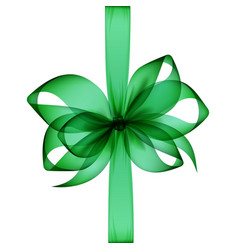 Green bow and ribbon on white background vector