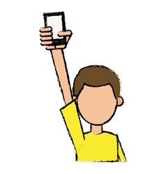 guy young holding smartphone with hand up vector image