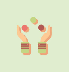 Hands juggling with balls in sticker style vector
