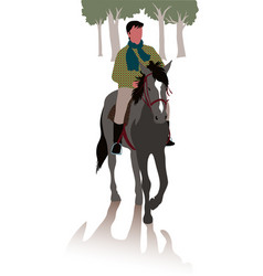 Horse and rider for a walk in the woods vector