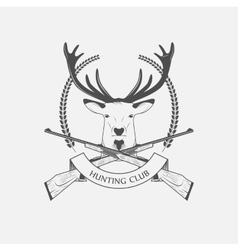 Hunting club icon with a rifle and deer vector