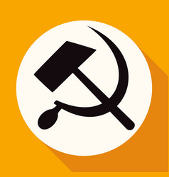 Icon sickle hammer on white circle with a long vector