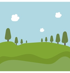 Landscape with trees and fields vector