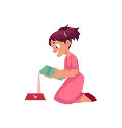 Little girl pouring milk into pet bowl vector