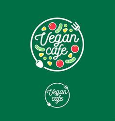 Logo vegan cafe fork spoon vegetables vector