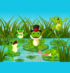 many frogs on leaf with river scene vector image