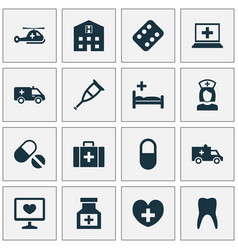 Medicine icons set collection of drug pellet vector