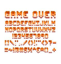 Pixel retro font computer game design vector