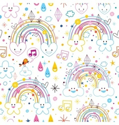 Rainbows clouds hearts pattern vector