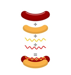 Recipe for hot dog Production of hot dogs vector image