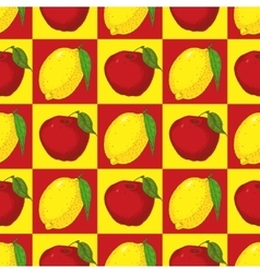 Seamless Pattern with Red Apples and Yellow Lemons vector image vector image