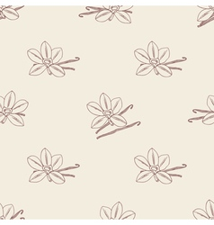 Seamless pattern with sketched vanilla flower and vector image