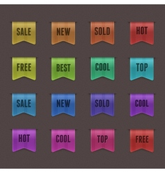 Set of 16 quality textured ribbons vector image vector image
