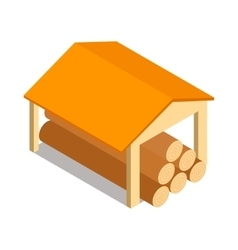 Shed icon isometric 3d style vector
